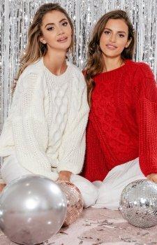 Oversizowy sweter Fobya ecru F866