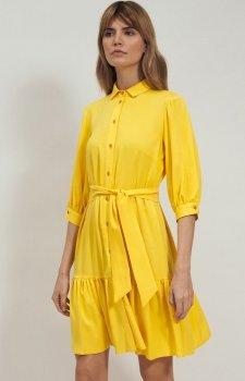 Żółta sukienka z kołnierzykiem S179