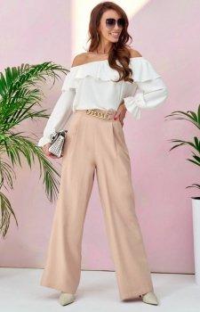 Szerokie spodnie plazzo beżowe 0011