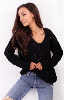 Ażurowy sweterek czarny LS319