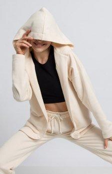 Oversizowa bluza z kapturem waniliowa LA058