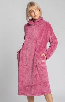 Lalupa ciepła pluszowa sukienka wrzos domowa