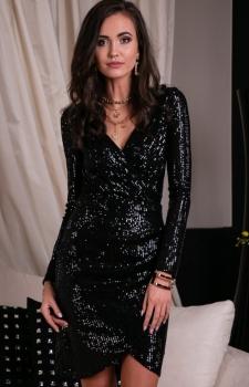Wieczorowa sukienka cekinowa czarna 0265