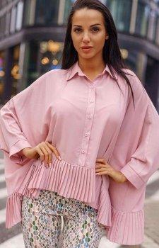Oversizowa koszula z plisowaniem pudrowa