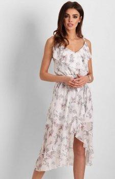 Letnia sukienka midi w kwiaty białe Chantal