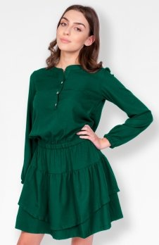 Sukienka z falbanką zielona SUK175