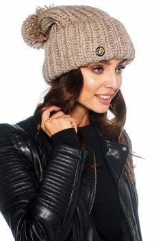 Ciepła czapka szary z pomponem LC121