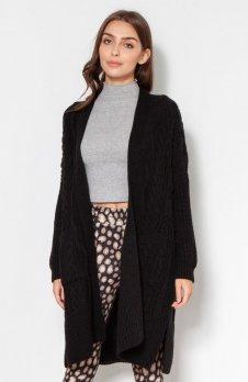 Swetrowy płaszcz z kieszeniami czarny SWE139