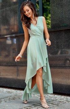 Szyfonowa sukienka z asymetrycznym przodem 0294 miętowa