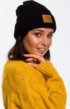 Ciepła czarna czapka warkocz BK043