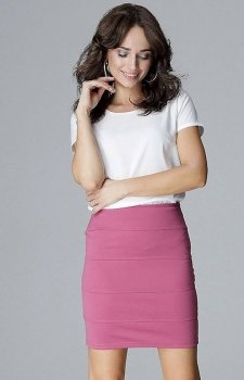 Dopasowana mini spódnica różowa L014