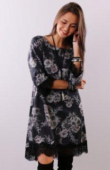 Roco 0222 sukienka czarne kwiaty