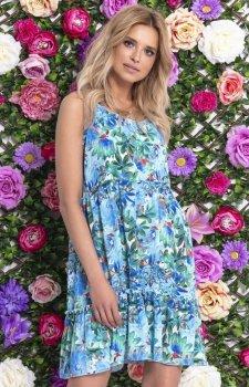 Letnia sukienka w niebieskie kwiaty F727