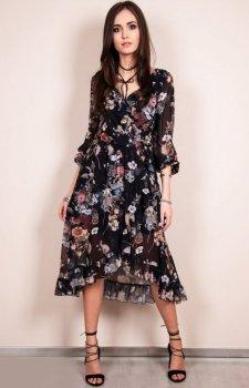 Zwiewna sukienka w ciemny print Roco 0243/D17