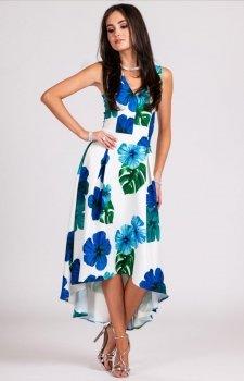 Asymetryczna sukienka w niebieskie kwiaty 0249