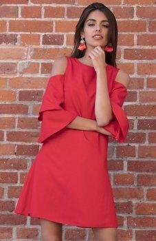 Fobya F543 elegancka sukienka czerwona