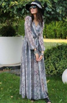 Roco 0219 sukienka szary wzór