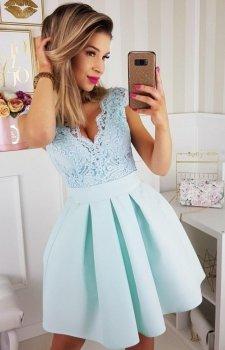 Bicotone rozkloszowana sukienka miętowa 2139-15