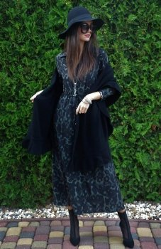 Roco 0220 sukienka długa panterka ciemna