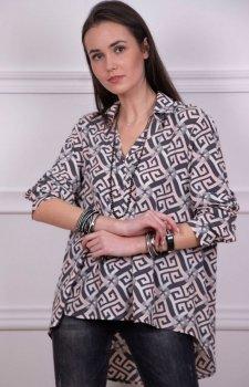 Oversizowa koszula damska w ciemny wzór Roco 0051