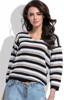 Fobya F516 sweter w paski czarny