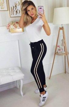 Carmel spodnie z lampasami czarne