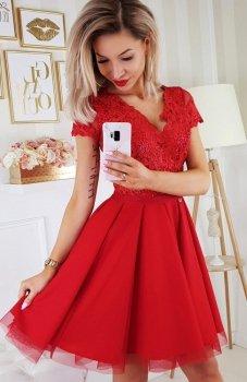 Bicotone 2180-02 sukienka rozkloszowana czerwona