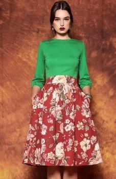 Kasia Miciak design bordowa w kwiaty spódnica