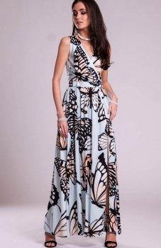 Sukienka długa w motyle błękitna 0236