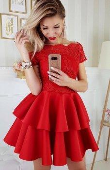Bicotone 2148-02 sukienka rozkloszowana czerwona