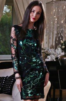 *Roco 0185 sukienka cekinowa zielona