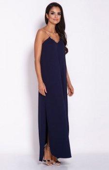 Długa sukienka Inez granatowa