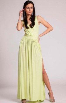 Wieczorowa sukienka z brokatem pistacjowa 224