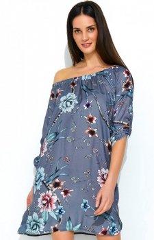 Wielokolorowa sukienka w kwiaty szare NU181