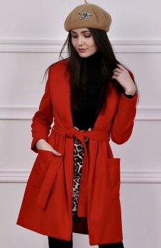 Wiązany płaszcz wiosenny czerwony Roco 007