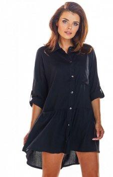 Koszulowa sukienka asymetryczna czarna A300