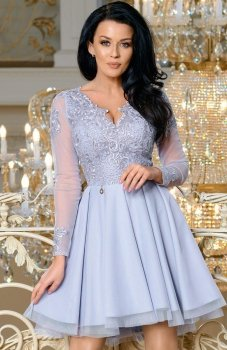 Bicotone 2160-03 sukienka rozkloszowana szara