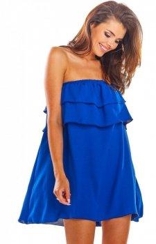 Oversizowa sukienka z falbaną niebieska A299