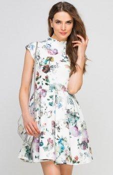 Lanti SUK143 sukienka ecru kwiaty