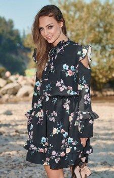 Lemoniade L276 sukienka czarna w kwiaty