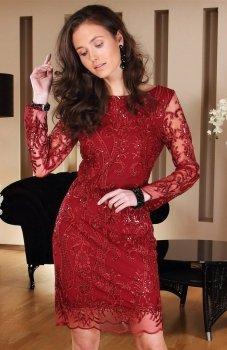 *Roco 0122 sukienka bordowa