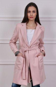 Wiązany płaszcz wiosenny różowy Roco 007