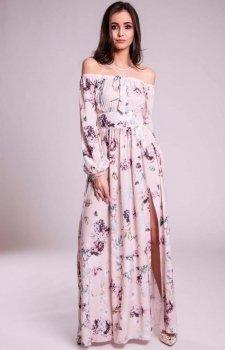Długa sukienka z odkrytymi ramionami kwiatowa 245