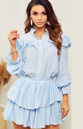 Błękitny letni komplet damski koszula i spódniczka