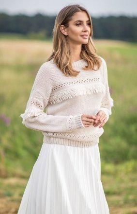*Sweter oversize z frędzlami beżowy F745