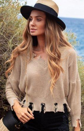 FIMFI I294 sweter beżowy