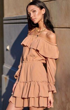 Kobieca sukienka hiszpanka karmelowa 0297