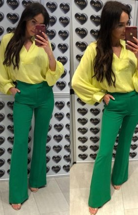 *Rozszerzane spodnie typu dzwony zielone