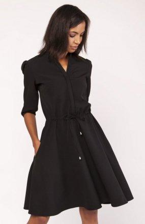 Sukienka o rozkloszowanym dole czarna SUK156