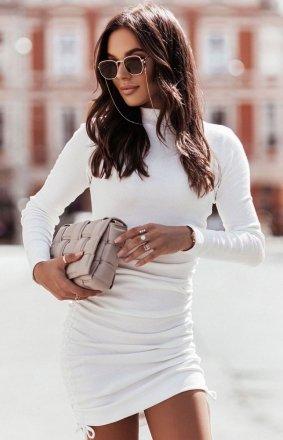 Dopasowana mini sukienka Nastia śmietankowa